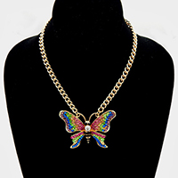 Crystal Pave Large Butterfly Pendant Necklace
