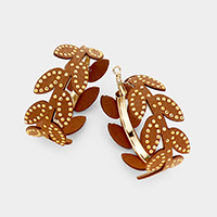 Faux Leather Leaf Branch Hoop Earrings