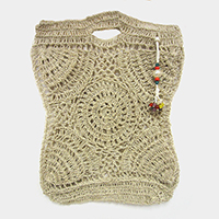 Crochet Pearl Bead Cluster Charm Tote Bags