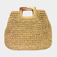 Crochet Straw Rectangle Wood Handle Tote Bag