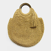 Round Straw Crochet Tassel Wood Handle Tote Bag