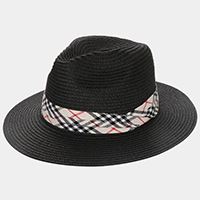 Plaid Check Band Straw Fedora Hat