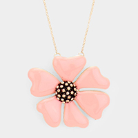 Crystal Embellished Metal Flower Long Necklace
