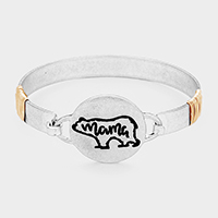 'Mama' Bear Round Metal Hook Bracelet