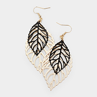 Textured Filigree Metal Leaf Dangle Earrings