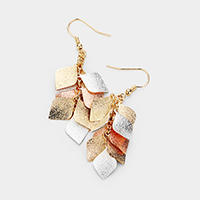 Textured Metal Vine Dangle Earrings