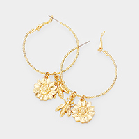 Flower Bee Charm Metal Hoop Earrings