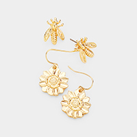 2Pairs - Flower Bee Metal Earrings