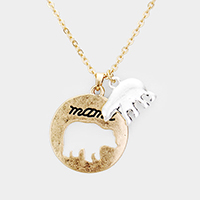 'Mama' Round Metal Bear Charm Pendant Necklace