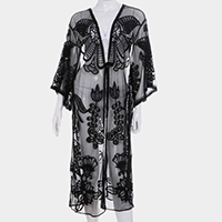 Butterfly Floral Embroidery Cover Up Kimono Cardigan