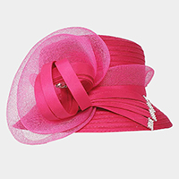 Bow Accented Flower Dressy Hat