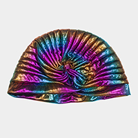Colorful Hologram Pleated Turban Beanie Hat
