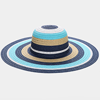 Color Block Straw Floppy Sun Hat