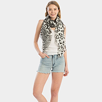 Mixed Animal Print Oblong Scarf