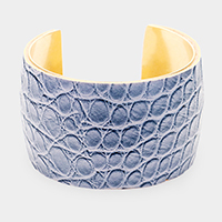 Snake Faux Leather Metal Cuff Bracelet