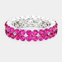 Glass Crystal Round Stone Stretch Bracelet