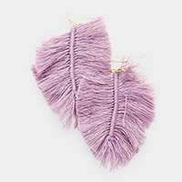 Feather Shape Thread Tassel Earrings