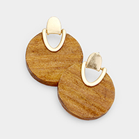 Wood Round Post Earrings
