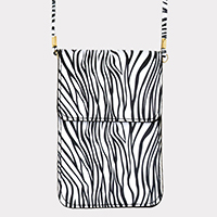 Zebra Faux Leather Touch View Cell Phone Cross Bag