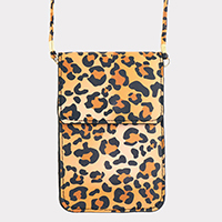 Leopard Faux Leather Touch View Cell Phone Cross Bag
