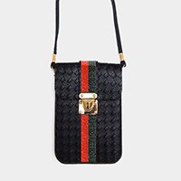 Crystal Color Block Textured Faux Leather Mini Crossbody Bag
