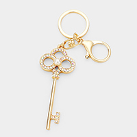 Pearl Crystal Embellished Key Chain