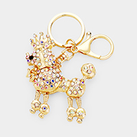 Crystal Pave Crown Poodle Key Chain