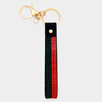Color Block Crystal Embellished Faux Leather Key Chain