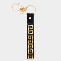 Greek Pattern Crystal Embellished Faux Leather Key Chain