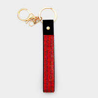 Crystal Embellished Faux Leather Key Chain