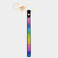 Colorful Crystal Embellished Faux Leather Key Chain