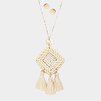Cut out Square Woven Straw Triple Tassel Long Necklace