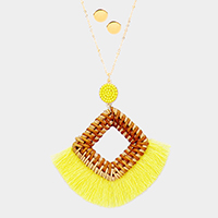 Cut Out Square Woven Straw Tassel Long Necklace