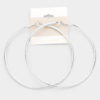 14K White Gold Filled Metallic Hoop Earrings