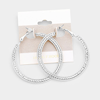 14k White Gold Filled Textured Hoop Earrings