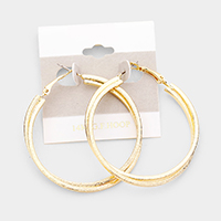 14k Gold Filled Double Textured Hoop Earrings