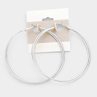 14k White Gold Filled Double Textured Hoop Earrings
