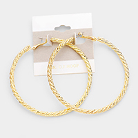14k Gold Filled Twisted Textured Hoop Earrings