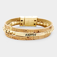 'Faith' Leather Triple Strand Magnetic Bracelet