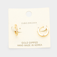 Gold Dipped Cubic Zirconia Huggie Hoop Earrings