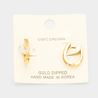 Gold Dipped Cubic Zirconia Huggie Earrings
