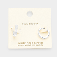 White Gold Dipped Cubic Zirconia Huggie Hoop Earrings
