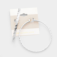 14K White Gold Filled Textured Hoop Pin Catch Earrings