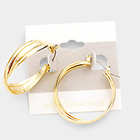 14k Gold Filled Triple Hoop Pin Catch Earrings