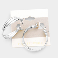 14k White Gold Filled Triple Hoop Pin Catch Earrings