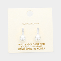 White Gold Dipped Cubic Zirconia Pearl Drop Earrings