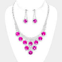 Crystal Round Rhinestone Pave Bubble Necklace