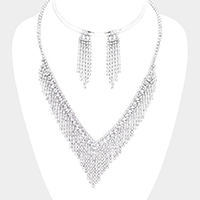 Pave Crystal Rhinestone V-Collar Necklace
