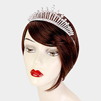 Crystal Teardrop Accented Rhinestone Pave Pageant Queen Tiara