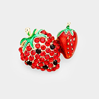 Crystal Pave Double Strawberry Brooch